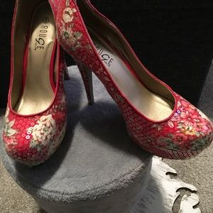 Shoes - Red,  5 inch flower pattern heels